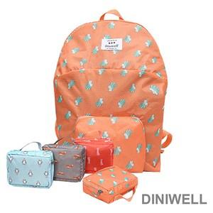 【韓版】DINIWELL卡通防水折疊收納後背包-橘色松鼠