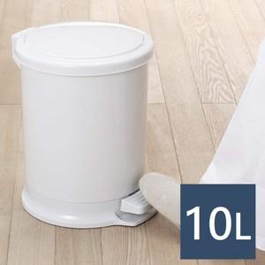 【日本RISU】H&H圓筒造型踩踏垃圾桶 10L-灰白色