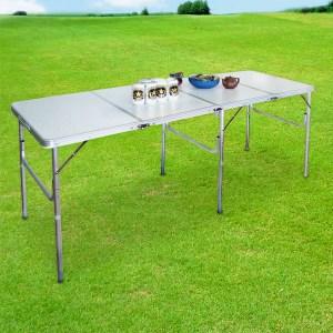 【LIFECODE】超長180cm四折箱型鋁合金折疊桌-會議桌/展示桌/野餐桌