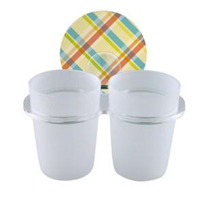 2EASY 台製無痕衛浴收納系列 雙杯架格紋霧白
