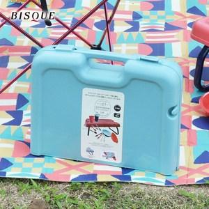 【日本BISQUE】野餐露營餐具摺疊桌組藍