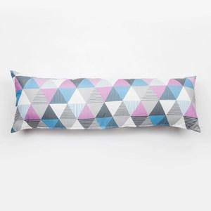 三角印花長抱枕 粉紫
