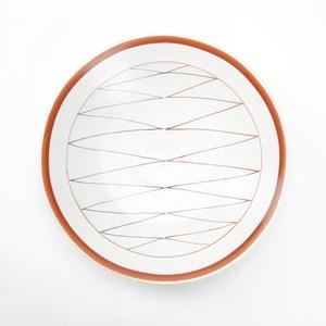 日本伊洛手繪飯盤22.5cm折線