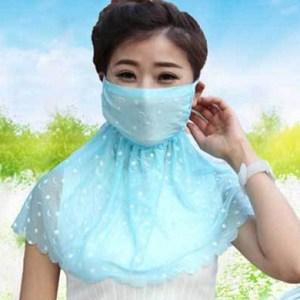 蕾絲加大版防曬抗UV面罩(2入組)米色