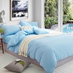 TRONlife好床生活 水洗純棉四件式兩用被床包組 天藍小格雙人