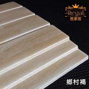 【悠家居Regal】台灣製3D立體防撞吸音泡棉壁貼磚-鄉村褐(4片)60x30cm