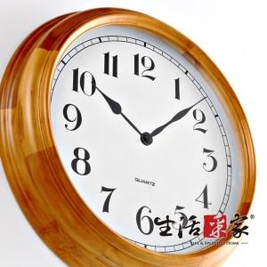 【生活采家】歐式經典40cm柚色實木靜音掛鐘#01021入