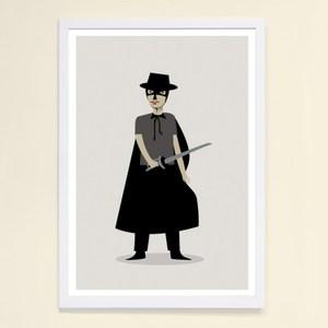 【摩達客】西班牙知名插畫家Judy Kaufmann藝術創作海報版畫掛畫裝飾畫-蒙面俠蘇洛