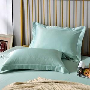 【Betrise晨暮破曉】環保印染抗菌天絲素色歐式壓框薄枕套X2