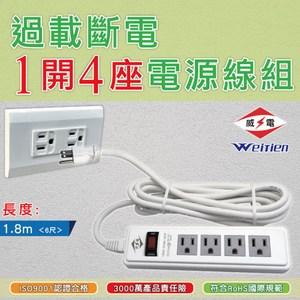 威電 過載斷電1開4座電源線組6呎(CK3144-6)