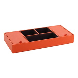 LOVEL 經典愛馬仕橘皮革收納 防塵雙蓋5格置物盒