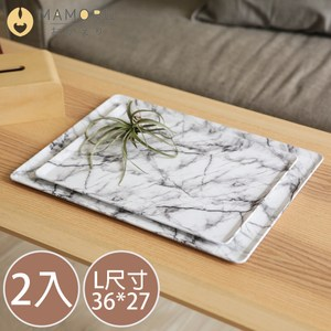 【MAMORU】超值2入_日系質感木紋止滑托盤(L號/3色可選/餐盤)深木紋