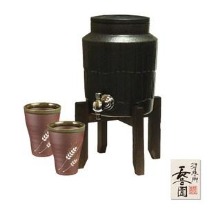 【日本長谷園伊賀燒】遠紅外線負離子陶水壺(黑)贈日式陶土杯2入組