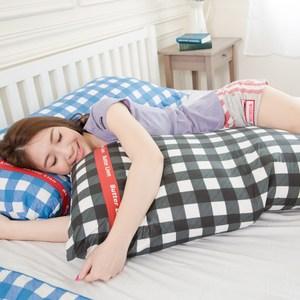 【奶油獅】格紋系列-100%精梳純棉可拆洗100CM長型抱枕-黑
