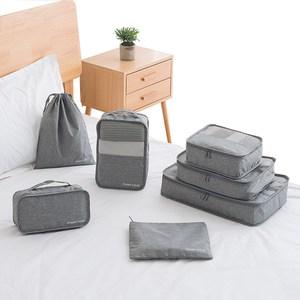PUSH!旅遊用品旅行收納袋行李箱衣物收納包(7件套)灰色S51
