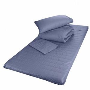 嚴選純棉絎縫記憶床墊四件式組合 藍色