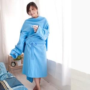 米夢家居】台灣製造-獨家設計-超保暖綁帶式懶人袖毯(繽紛藍