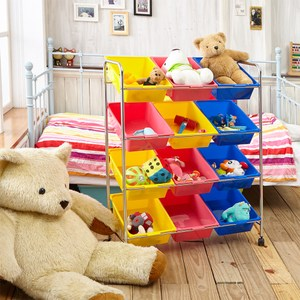 【ikloo】可移式12格玩具收納車