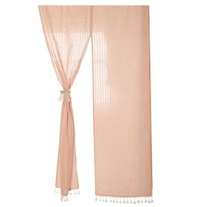 【三房兩廳】春風日系條紋長門簾(買就送門簾桿1支) 橘粉色