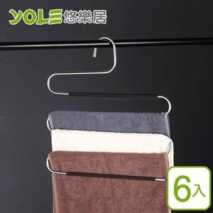 【YOLE悠樂居】201不鏽鋼加厚防滑多層領帶吊褲魔術衣架(6入)