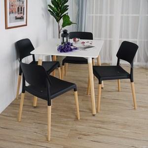 Homelike 韋勃北歐風方型餐桌椅(一桌四椅)四黑椅