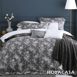 【HOYACASA】香榭麗舍加大六件式300織長纖棉兩用被床包組