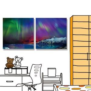 【24mama 掛畫】二聯式 油畫布 無框畫 40x40cm-北極光油畫布無時鐘