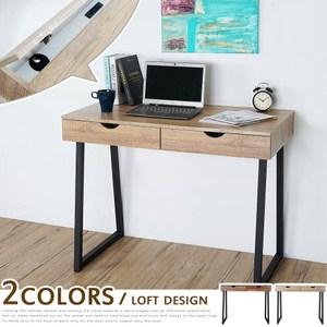 [特價](預購型商品)Homelike 佐克工業風二抽書桌(兩色可選)原木色