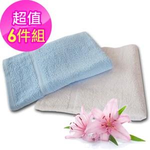 【法式寢飾花季】優雅生活-純棉厚織舒柔毛巾被935g/條x6件組(白色)