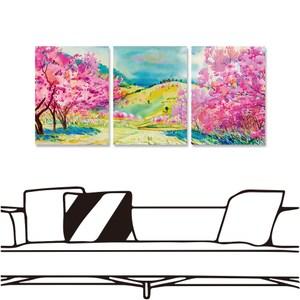 【24mama 掛畫】三聯式 油畫布 無框畫-30x40cm-櫻花樹下