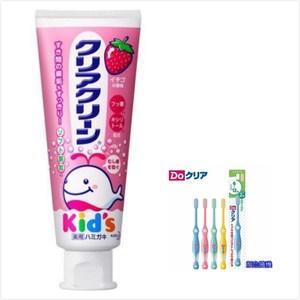 日本 KAO 兒童牙膏-草莓(70g*3)+6~12歲兒童牙刷*6