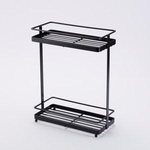 扁鐵雙層長方形置物架-黑