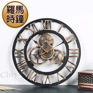 【歐風精選】手工仿古復古 羅馬時鐘 掛鐘 壁鐘 客廳擺飾 靜音機芯-古銅色