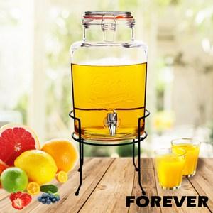 【日本FOREVER】夏天必備派對玻璃果汁飲料桶(含桶架)5L