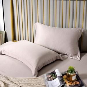 【Betrise擦肩而過】環保印染抗菌天絲素色歐式壓框薄枕套X2