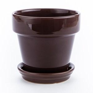 單色素面圓盆 5.5吋 棕 Deroma