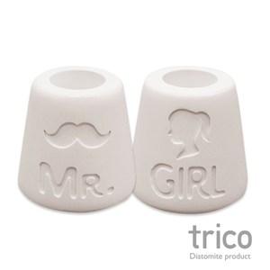 日本Trico 幸福點點名珪藻土牙刷架(Mr+Girl)