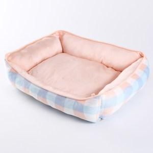 格子涼感寵物窩 方形款 藍粉配色