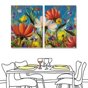 【24mama 掛畫】二聯式 油畫布 無框畫30x40cm-鮮豔的花朵油畫布無時鐘