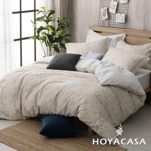 【HOYACASA】自然元素加大200織抗菌精梳棉兩用被床包四件組