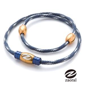 Zaoral 甦活磁石項圈-藍/金NV/GD (M號)