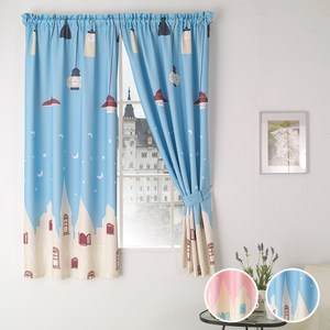 【三房兩廳】魔法電燈與移動城堡窗簾200cm*170cm(魔法天藍色)