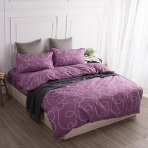 【BARNITE】幸福環繞棉感絨四件式兩用被床包組(雙人)