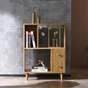 林氏木業北歐雙色白橡木雙抽三格矮書櫃EH1X-胡桃色+原木色
