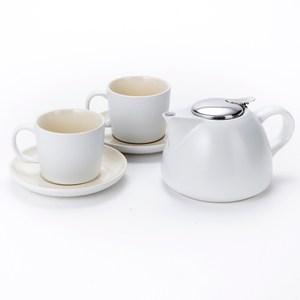 英國 La Cafetiere 簡約一壺二杯盤組 白 Barcelona系列