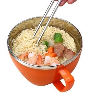 【PUSH!餐具】防燙防摔加厚304不鏽鋼泡麵碗飯(大號橙色)E78-1