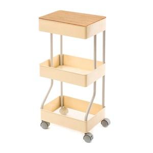 (組)鐵製烤漆三層推車-黃+桌板