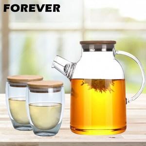 【日本FOREVER】日式竹蓋耐熱花茶杯壺組(1800ML+附蓋玻璃雙