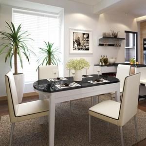 林氏木業北歐現代鋼化玻璃伸縮餐桌BI2R-C黑白色