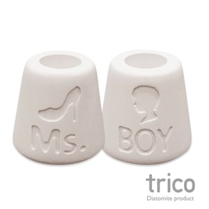 日本Trico 幸福點點名珪藻土牙刷架(Ms+Boy)